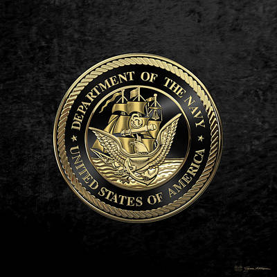Digital Art - U. S.  Navy  -  U S N  Emblem Black Edition Over Black Velvet by Serge Averbukh