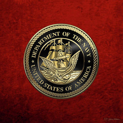 Digital Art - U. S.  Navy  -  U S N  Emblem Black Edition Over Red Velvet by Serge Averbukh