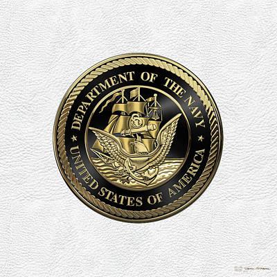 Digital Art - U. S.  Navy  -  U S N  Emblem Black Edition Over White Leather by Serge Averbukh