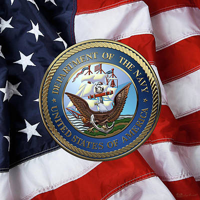 Digital Art - U. S.  Navy  -  U S N Emblem Over American Flag by Serge Averbukh