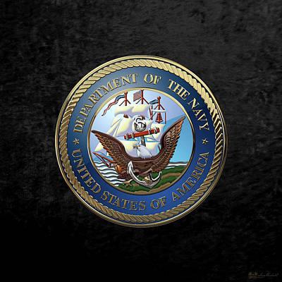 Digital Art - U. S.  Navy  -  U S N Emblem Over Black Velvet by Serge Averbukh