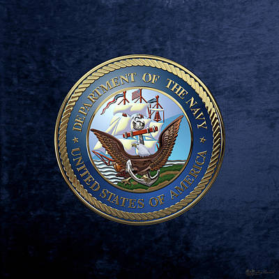 Digital Art - U. S.  Navy  -  U S N Emblem Over Blue Velvet by Serge Averbukh