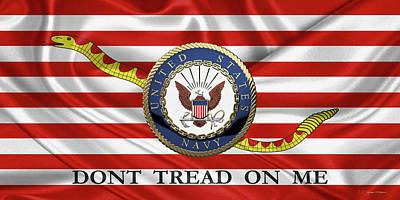 Digital Art - U. S.  Navy  -  U S N Emblem Over Naval Jack by Serge Averbukh