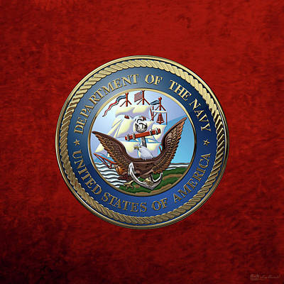 U. S.  Navy  -  U S N Emblem Over Red Velvet Art Print by Serge Averbukh