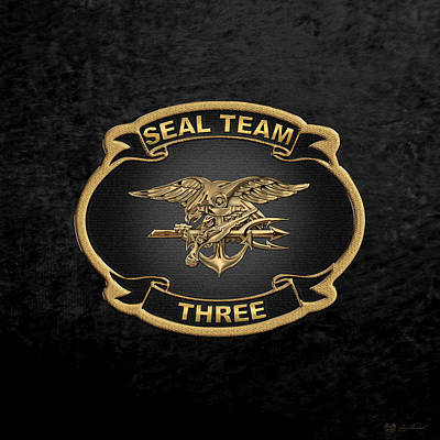 U. S. Navy S E A Ls - S E A L Team 3  -  S T 3  Patch Over Black Velvet Art Print