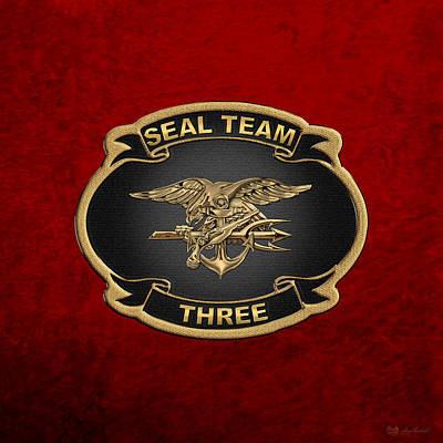 Digital Art - U. S. Navy S E A Ls - S E A L Team 3  -  S T 3  Patch Over Red Velvet by Serge Averbukh
