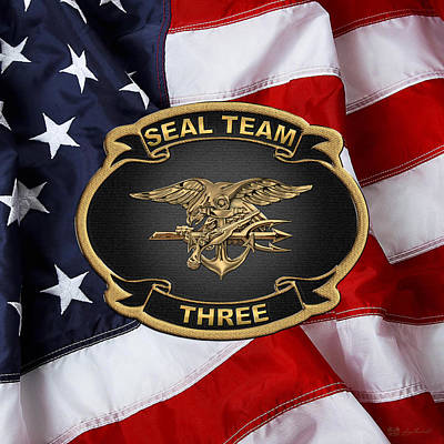U. S. Navy S E A Ls - S E A L Team 3  -  S T 3  Patch Over U.s. Flag Original
