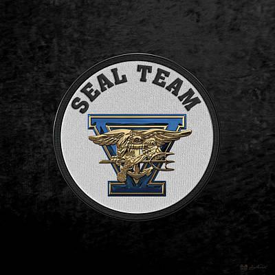Digital Art - U. S. Navy S E A Ls - S E A L Team Five  -  S T 5  Patch Over Black Velvet by Serge Averbukh
