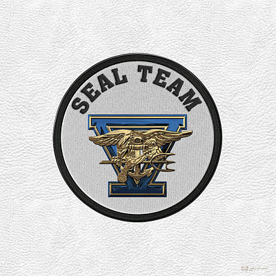 Digital Art - U. S. Navy S E A Ls - S E A L Team Five  -  S T 5  Patch Over White Leather by Serge Averbukh