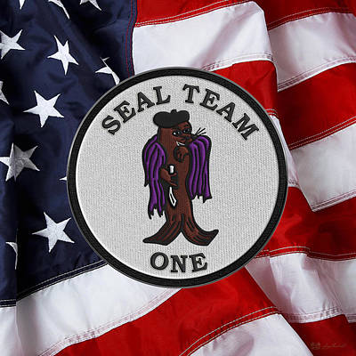 U. S. Navy S E A Ls - S E A L Team One -  S T 1 Patch Over U.s. Flag Original
