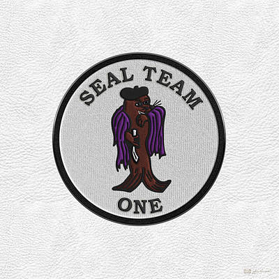 Digital Art - U. S. Navy S E A Ls - S E A L Team One -  S T 1 Patch Over White Leather by Serge Averbukh