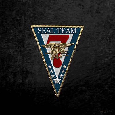 Digital Art - U. S. Navy S E A Ls - S E A L Team Seven  -  S T 7  Patch Over Black Velvet by Serge Averbukh