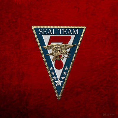 Digital Art - U. S. Navy S E A Ls - S E A L Team Seven  -  S T 7  Patch Over Red Velvet by Serge Averbukh