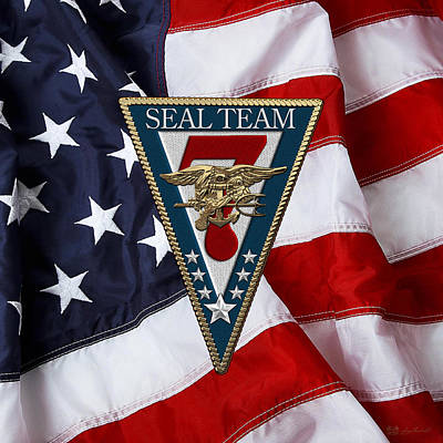 U. S. Navy S E A Ls - S E A L Team Seven  -  S T 7  Patch Over U. S. Flag Original