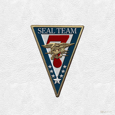Digital Art - U. S. Navy S E A Ls - S E A L Team Seven  -  S T 7  Patch Over White Leather by Serge Averbukh