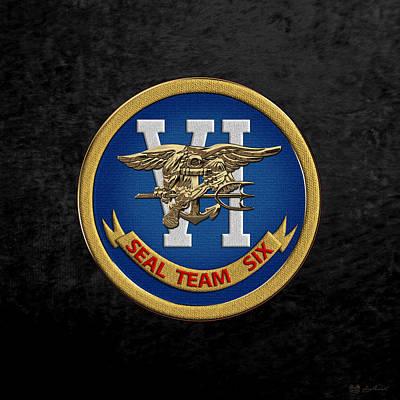 Digital Art - U. S. Navy S E A Ls - S E A L Team Six  -  S T 6  Patch Over Black Velvet by Serge Averbukh