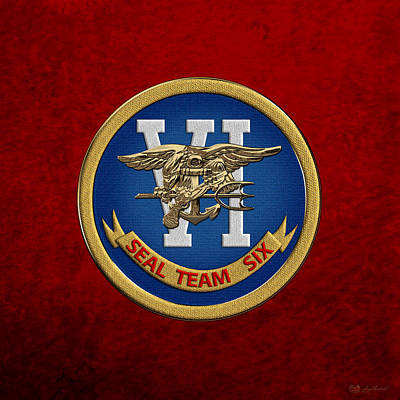 Digital Art - U. S. Navy S E A Ls - S E A L Team Six  -  S T 6  Patch Over Red Velvet by Serge Averbukh