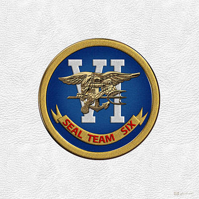 Digital Art - U. S. Navy S E A Ls - S E A L Team Six  -  S T 6  Patch Over White Leather by Serge Averbukh