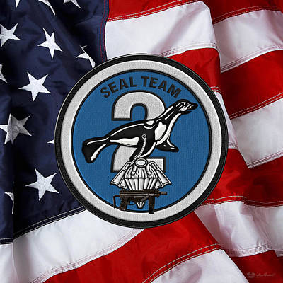 Digital Art - U. S. Navy S E A Ls - S E A L Team Two -  S T 2  Patch Over U. S. Flag by Serge Averbukh