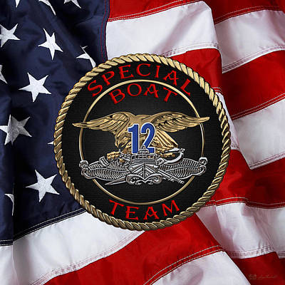 U. S. Navy S W C C - Special Boat Team 12   -  S B T 12  Patch Over U.s. Flag Original