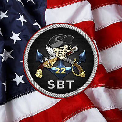 U. S. Navy S W C C - Special Boat Team 22   -  S B T 22  Patch Over U.s. Flag Original
