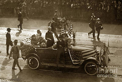 Photograph - U. S. President President Woodrow Wilson Standing In A Car With  by California Views Mr Pat Hathaway Archives