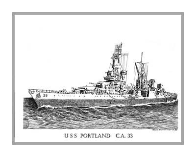 Drawing - U S S Portland C A 33 by Jack Pumphrey