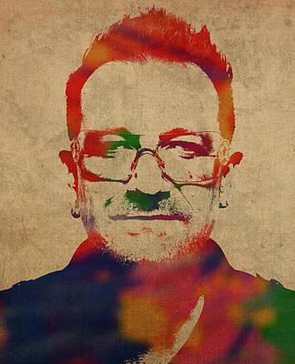 Bono Mixed Media - U2 Bono Watercolor Portrait by Design Turnpike