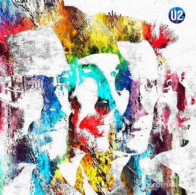 Irish Rock Band Mixed Media - U2 Grunge by Daniel Janda