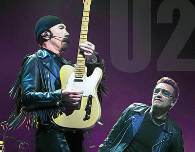 Bono Mixed Media - u2 by Mal Bray