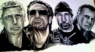 Bono Drawing - U2 by Pauline Murphy