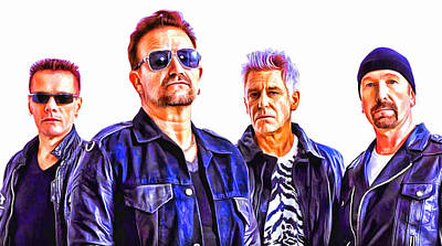Irish Rock Band Digital Art - U2  by Galeria Zullian  Trompiz