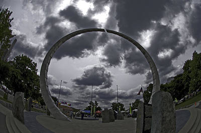 Photograph - Uaw Ring Detroit Hart Plaza by Steven Dunn