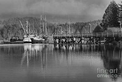 Photograph - Ucluelet Fishing Trawlers In Black And White by Adam Jewell