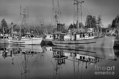 Photograph - Ucluelet  Harbor Black And White by Adam Jewell