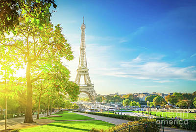 Paris Skyline Royalty-Free and Rights-Managed Images - Sinrise on Trocadero, Paris by Anastasy Yarmolovich