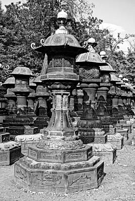 Photograph - Ueno Park Stone Lantern Army by Robert Meyers-Lussier