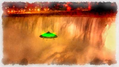Alien Abduction Wall Art - Painting - Ufo At Niagra by Esoterica Art Agency