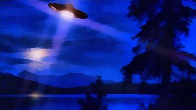 Ufo Painting - Ufo At Night by Esoterica Art Agency