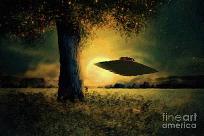 Science Fiction Paintings - UFO at Twilight by Raphael Terra and Mary Bassett by Raphael Terra