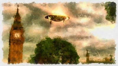 Ufo Painting - Ufo Big Ben by Esoterica Art Agency