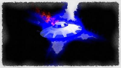 Ufo Painting - Ufo Blue In Flames by Esoterica Art Agency