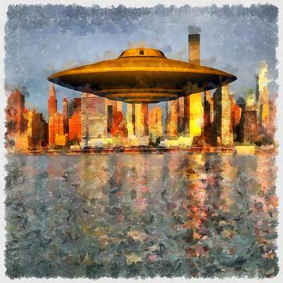 Ufo Painting - Ufo Down River by Esoterica Art Agency
