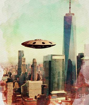 Science Fiction Royalty-Free and Rights-Managed Images - U.F.O. Down Town by Raphael Terra