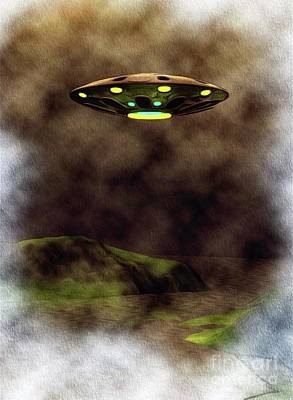 Science Fiction Royalty-Free and Rights-Managed Images - UFO Evening by Raphael Terra