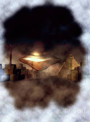 Science Fiction Royalty-Free and Rights-Managed Images - UFO in Area 51 by Raphael Terra