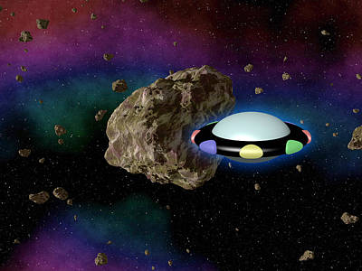Ufo In Outerspace With Asteroid Art Print
