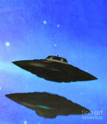 Science Fiction Paintings - UFO in the Blue by Raphael Terra and Mary Bassett by Raphael Terra