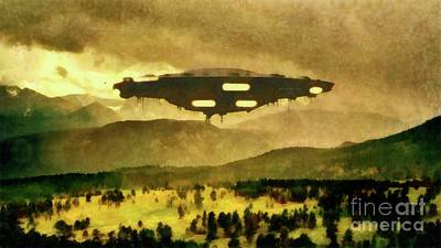 Monster Ufo Wall Art - Painting - Ufo In The Country by Raphael Terra