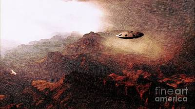Fantasy Drawings - UFO in the Mountains by Raphael Terra